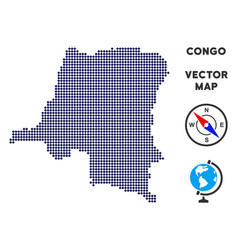 dotted democratic republic of the congo map vector image
