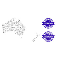 Dotted map of australia and new zealand and grunge vector