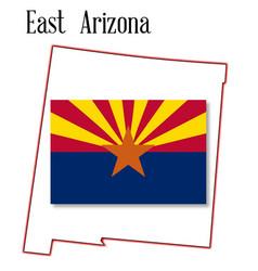 East arizona map and flag vector