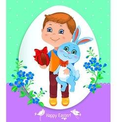 Easter card with boy vector image