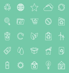 Ecology line icons on green background vector image