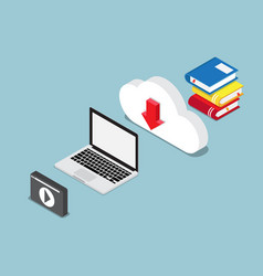 education online concept books lesson on cloud vector image