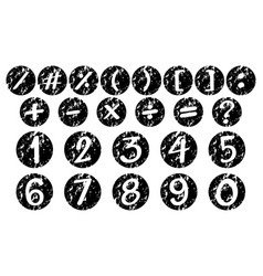 font design for numbers and signs on black badges vector image