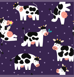 Funny cows seamless pattern funny farm characters vector