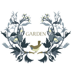 garden floral frame with a bird isolated object vector image