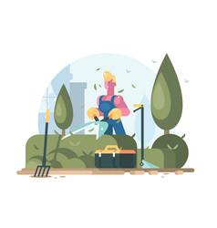 gardener cuts green bush vector image