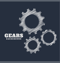 Gears symbols in scribble style background vector