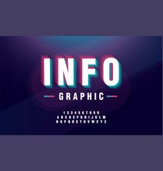 glitched alphabet font design headline typeface vector image