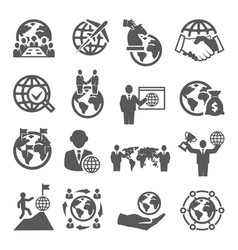 global business icons set on white background vector image