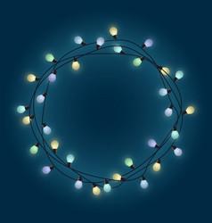 glowing bulb garland frame decorative light vector image
