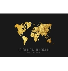 golden world map world logo design creative vector image