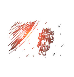 Hand drawn astronaut floating in outer space vector