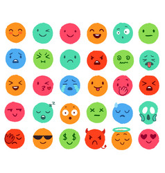 hand drawn color emoji colorful doodle faces vector image