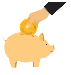 Hand omit a coin in a piggy bank vector