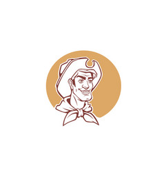 happy cartoon cowboy portrait for logo label vector image