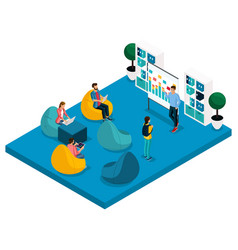 isometric concept coworking center vector image