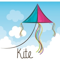 Kite toy flying icon vector