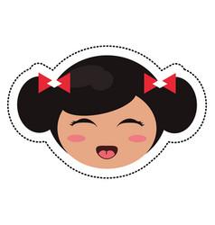 Kokeshi head face doll vector