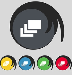 Layers icon sign Symbol on five colored buttons vector