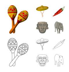 maracas national musical instrument sambrero vector image