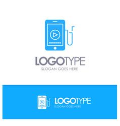 Music mobile cell education blue logo vector