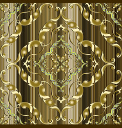 ornate gold 3d baroque seamless pattern vector image