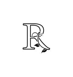 Outline deco floral letter r logo icon luxury vector
