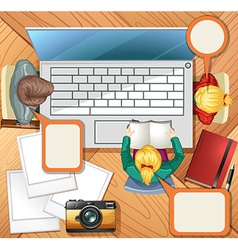 People working on computer vector image