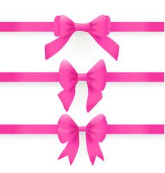 pink bows and ribbons for gift box vector image