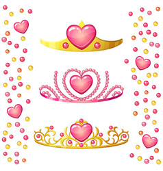 princess crowns with heart gem isolated on white vector image