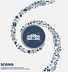 Radio cassette player sign icon in the center vector image vector image
