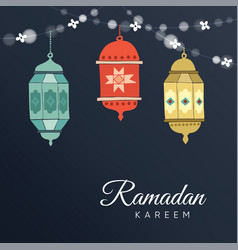 ramadan hand drawn arabic lanterns with a string vector image