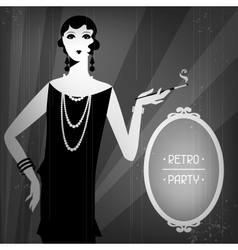 Retro party background with beautiful girl vector