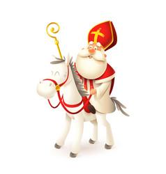 Saint nicholas on white horse vector