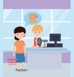 Seller and customer with basket and sold out shelf vector