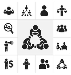 set of 12 editable team icons includes symbols vector image