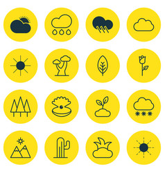 set of 16 nature icons includes snowstorm rain vector image