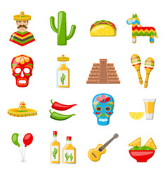 Set of mexico icons isolated on white background vector