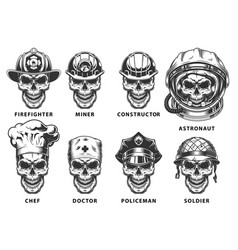 set of skull vector image