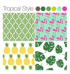 Set of tropical exotic jungle backgrounds patterns vector