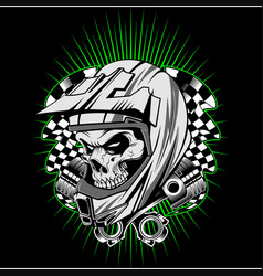 skull helmet with piston hand drawing vector image