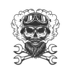 skull wearing biker helmet and goggles vector image