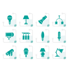 Stylized different kind of lighting equipment vector