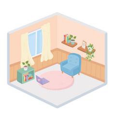 Sweet home armchair laptop carpet books shelf vector