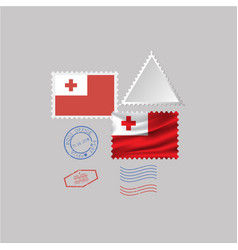 Tonga flag postage stamp set isolated on gray vector