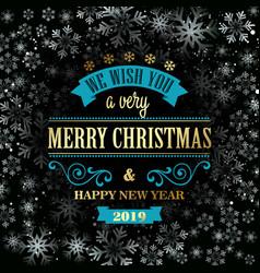 typographic retro christmas design on winter vector image