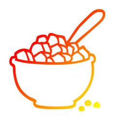 Warm gradient line drawing cartoon bowl cereal vector