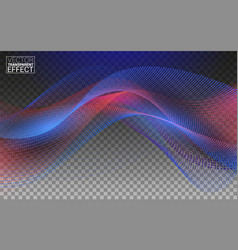 wave particles futuristic blue red dots with a vector image