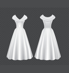 White wedding woman dress with long skirt vector