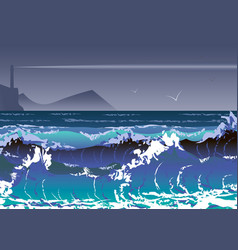 with sea storm and lighthouse sea waves and vector image